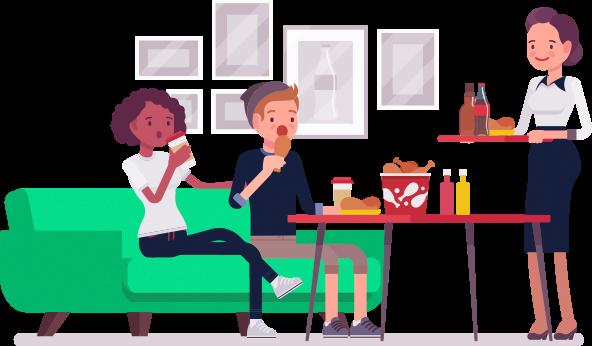 Ilustração Pessoas comendo e garçonete servindo